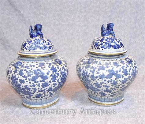Ceramic Urns And Vases by Pair Nanking Porcelain Lidded Urns Vases Blue And