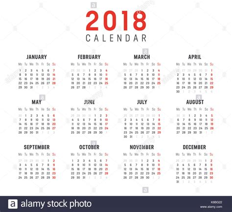 Calendar 2018 In Weeks Calendar 2018 Stock Photos Calendar 2018 Stock Images