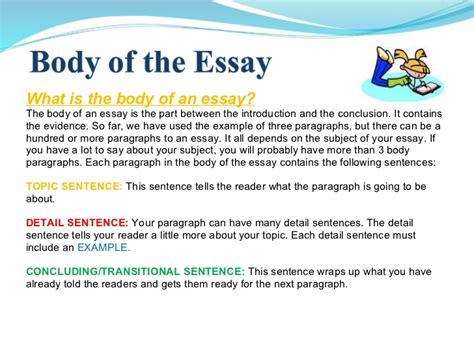 essay format uow the body of an essay