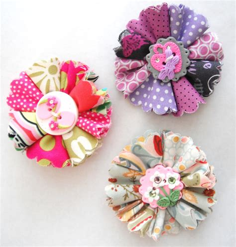 Fabric Handmade Flowers - items similar to hair folded fabric flowers handmade