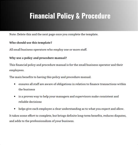 Financial Policies And Procedures Template free company policy template