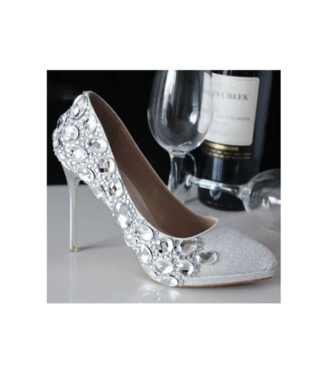 Comfortable Silver Shoes For Wedding by Comfortable Silver Rhinestone Pointed Toe Slip On Bridal Shoes