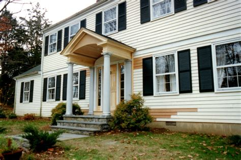 portico on colonial house connecticut shoreline custom home remodeling