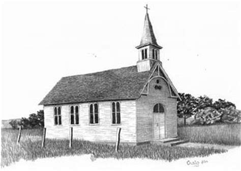 country church pencil sketch