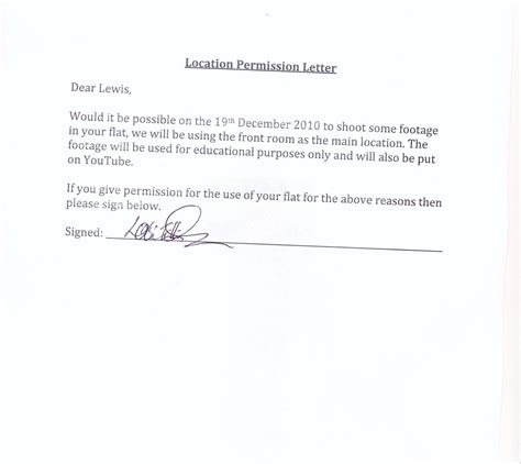 Permission Letter M Shooting Permission Letter Template Pets World