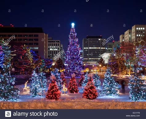 the main christmas tree and small christmas trees at the