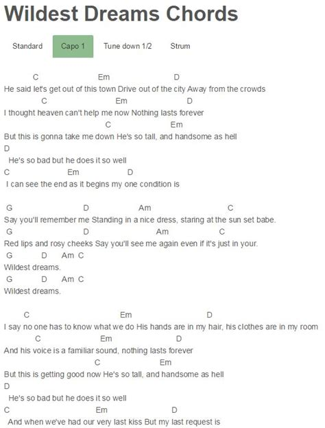 taylor swift easy ukulele chords wildest dreams chords taylor swift musica