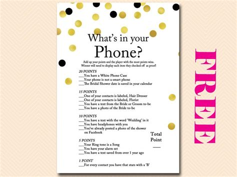 printable bridal shower cell phone game free gold and black confetti what s in your phone