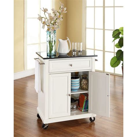 kitchen island with black granite top crosley white kitchen cart with black granite top
