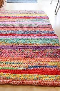 Rug Out Of T Shirts Handmade Crochet Rug Rag Rug Out Of T Shirts Rainbow
