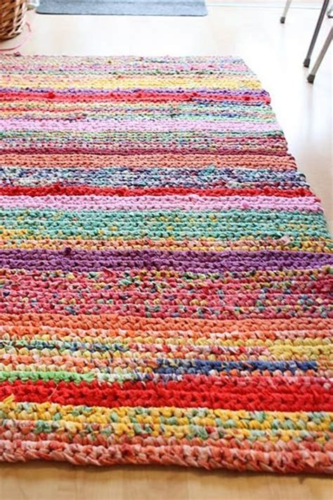 how to crochet a rag rug from t shirts handmade crochet rug rag rug out of t shirts rainbow crochet ideas ties