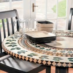 Patio Table Tablecloths by Mosaic Tile Elastic Fitted Vinyl Outdoor 48 Quot Round Patio