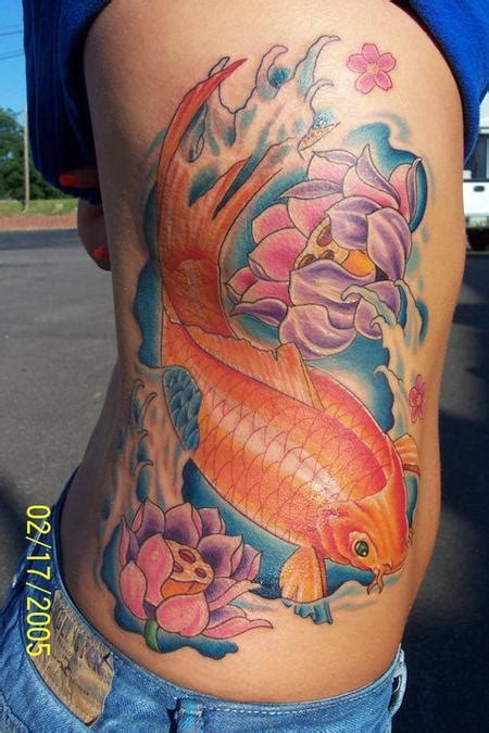 koi fish rib tattoo koi fish and lotus flower rib tattoo tattoos
