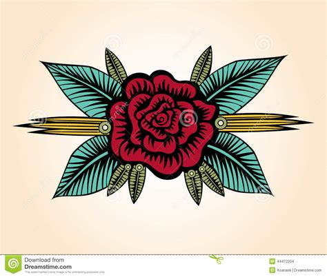 old style rose tattoo small style stock vector illustration of