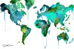 Watercolor World Map by Watercolor World Map No 6