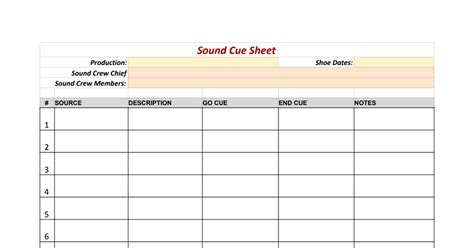 cue cards template pages sound cue sheet template sheets