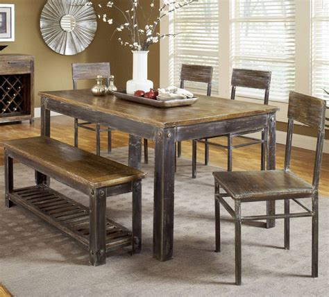 modus farmhouse 6 dining room set w oxidized finish