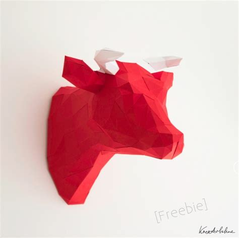 3d Origami Cow - 3d cow as wall deco by with tutorial and a