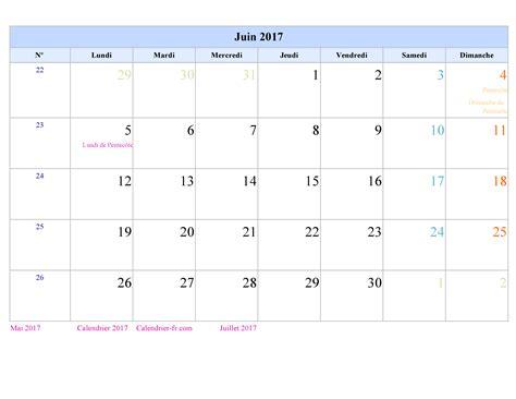 Calendrier Juin 2017 Calendrier 2017 A4 A Imprimer Calendar Template 2016