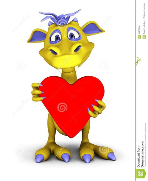 cute cartoon monster holding big red heart stock photo image