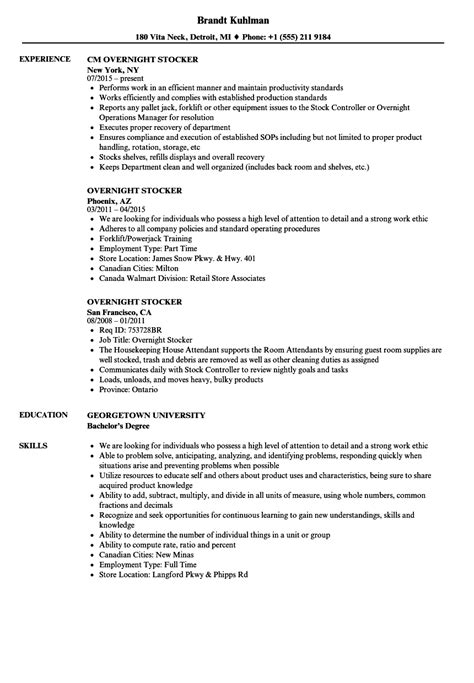 sle resume for overnight stocker overnight stocker resume sles velvet