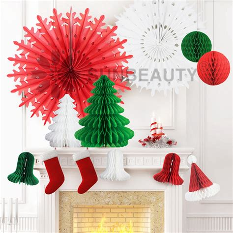 set of 12 mix and match christmas decorations paper