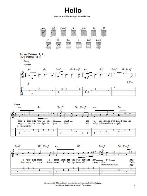 jim hello lyrics hello sheet by lionel richie easy guitar tab 76586