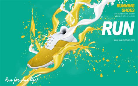 creative poster design vector running shoes poster template creative design vector 07
