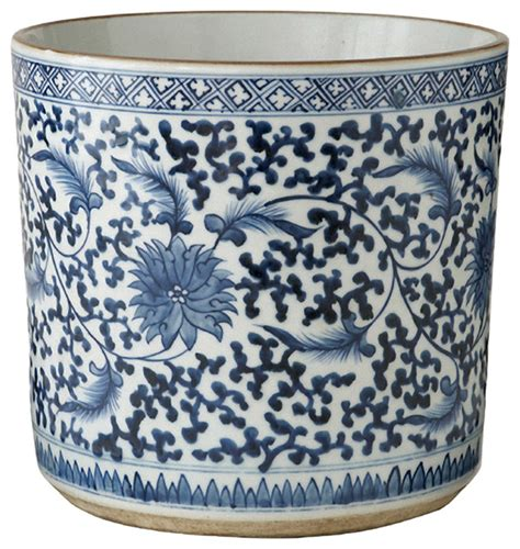 blue and white planters asian lotus covered blue white painted porcelain planter asian outdoor pots and