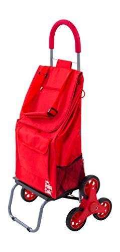 Trolley Dolly Stair Climber, Red Grocery Foldable Cart
