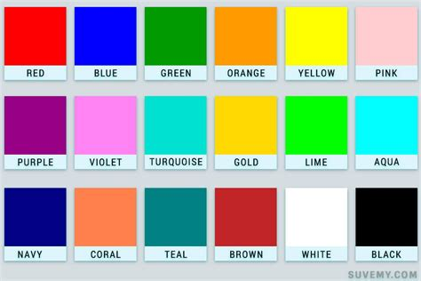 names of colors colours names in learn colors