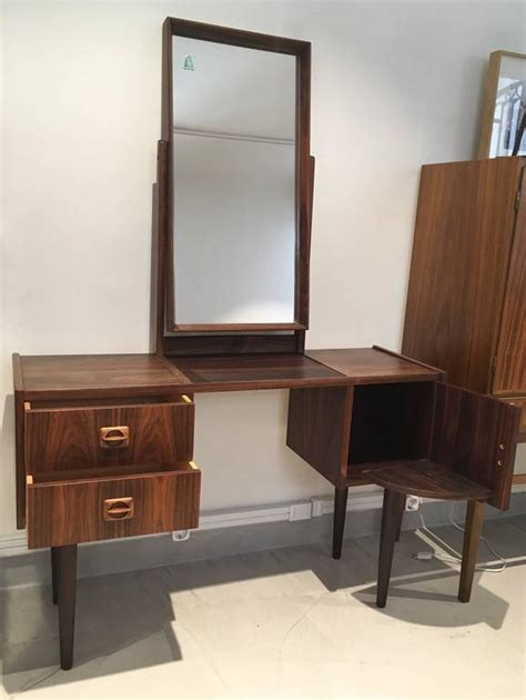 Mid Century Vanity Table by Mid Century Rosewood Vanity Table With Mirror At
