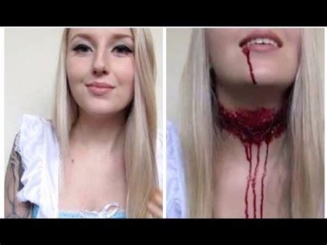 makeup tutorial girl slams head decapitated alice in wonderland halloween tutorial off