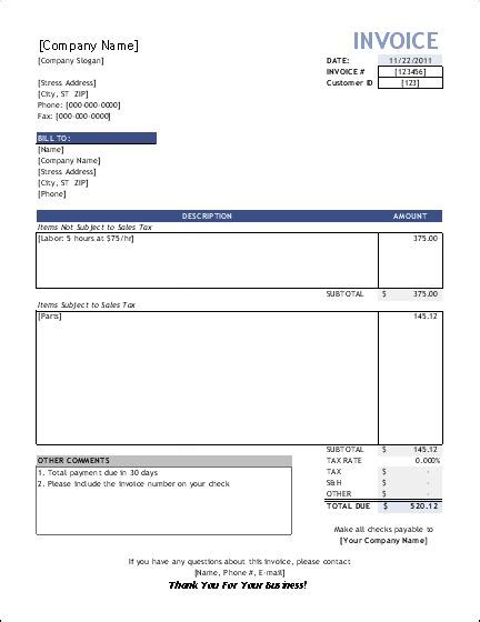 Free Construction Time And Material Forms Invoice Template For Service Providers Small Free Time And Material Template