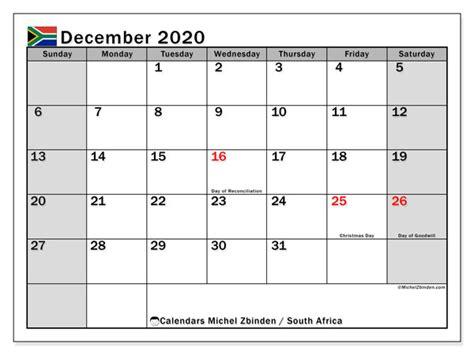 december  calendar south africa michel zbinden en