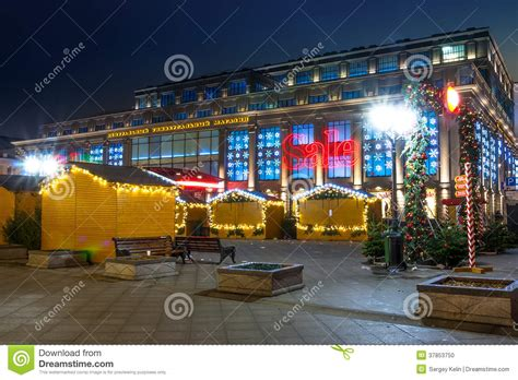 christmas sale in moscow central moscow store at night