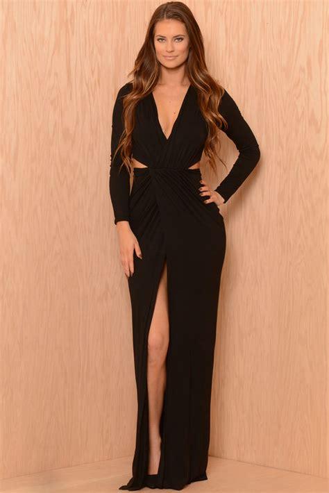Sleeve Floor Length Black Dress by Us 6 9 Black Sleeve V Neck Floor Length Jersey Dress