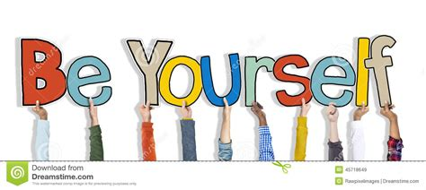 is selves a word of holding word be yourself stock photo