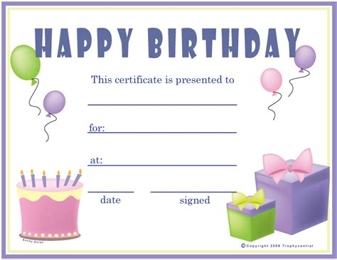 birthday gift card template 6 best images of birthday printable gift certificates