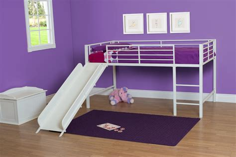 metal loft bed with slide low white metal loft bed with slide for toddler girls and rectangle purple bedroom rug