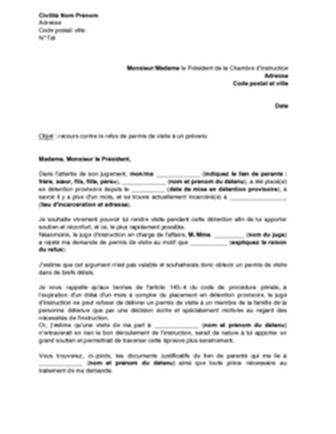 Lettre Recours Contre Refus De Visa Demande Visite Prison