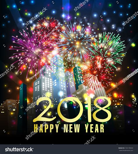 new year flower fair 2018 happy new year 2018 greeting card stock illustration