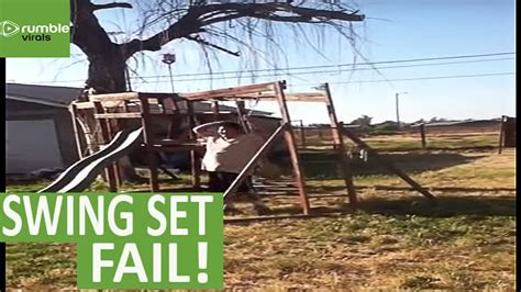 swing set fail epic fail kid destroys swing set doovi