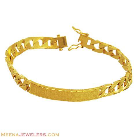 22K ID Mens Bracelet   BrMb12223   22k gold designer bracelet for mens with ID (For Engraving