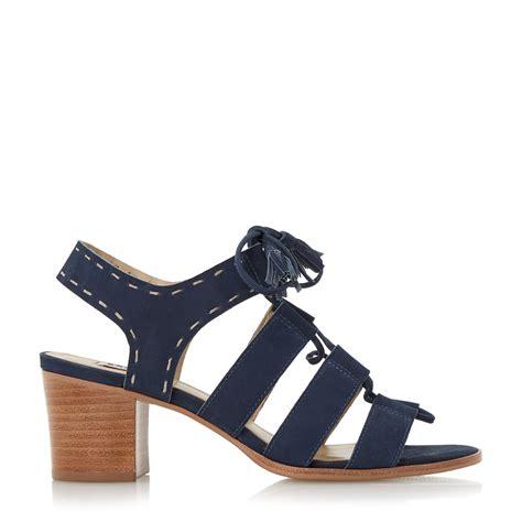 blue block heel sandals dune ivanna ghillie lace block heel sandals in blue lyst