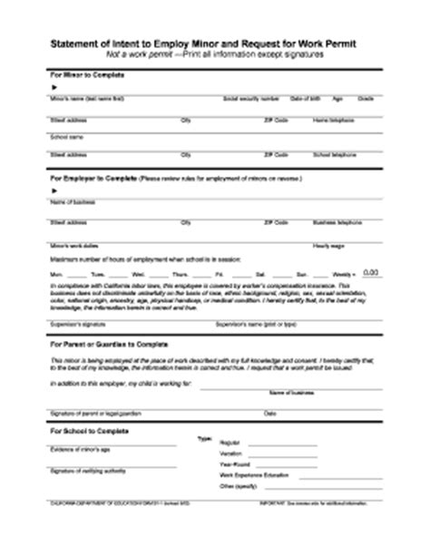 Printable Work Permit