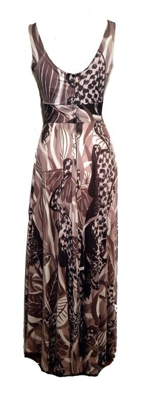 V Neck Prada Import Brown Abstract futura couture 1960s abstract leopard print maxi dress size small for sale at 1stdibs