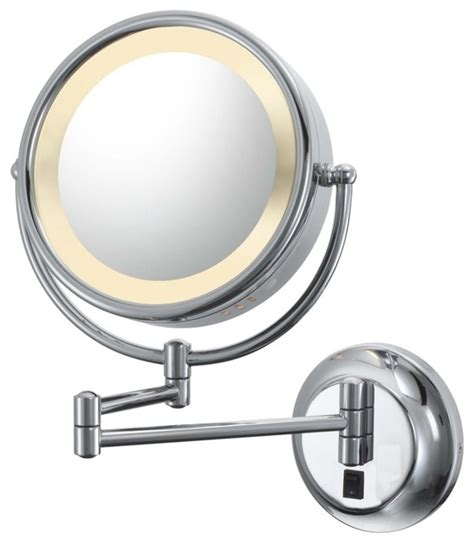 Swing Arm Bathroom Mirror Aptations Chrome Hardwired Swing Arm Lighted Vanity Mirror Contemporary Makeup Mirrors By
