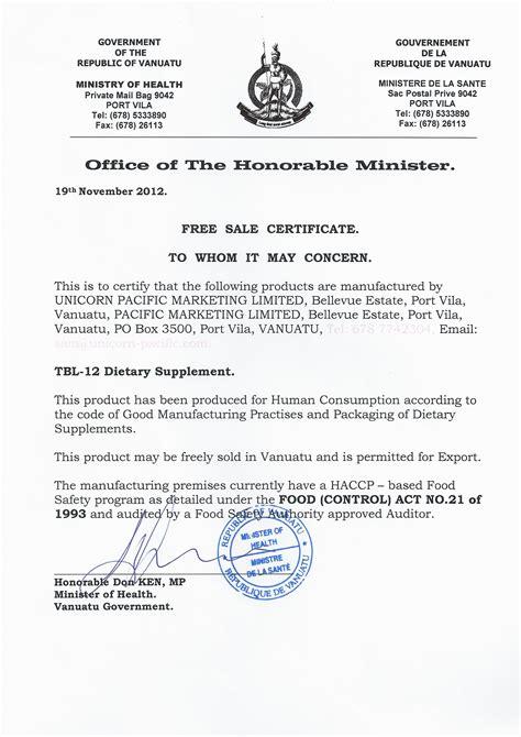 sle of certificate vanuatu government free sale certificate my cms