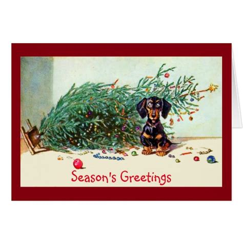 funny vintage christmas tree with a dachshund greeting